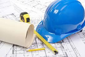 Licensed contractor helmet and blueprints